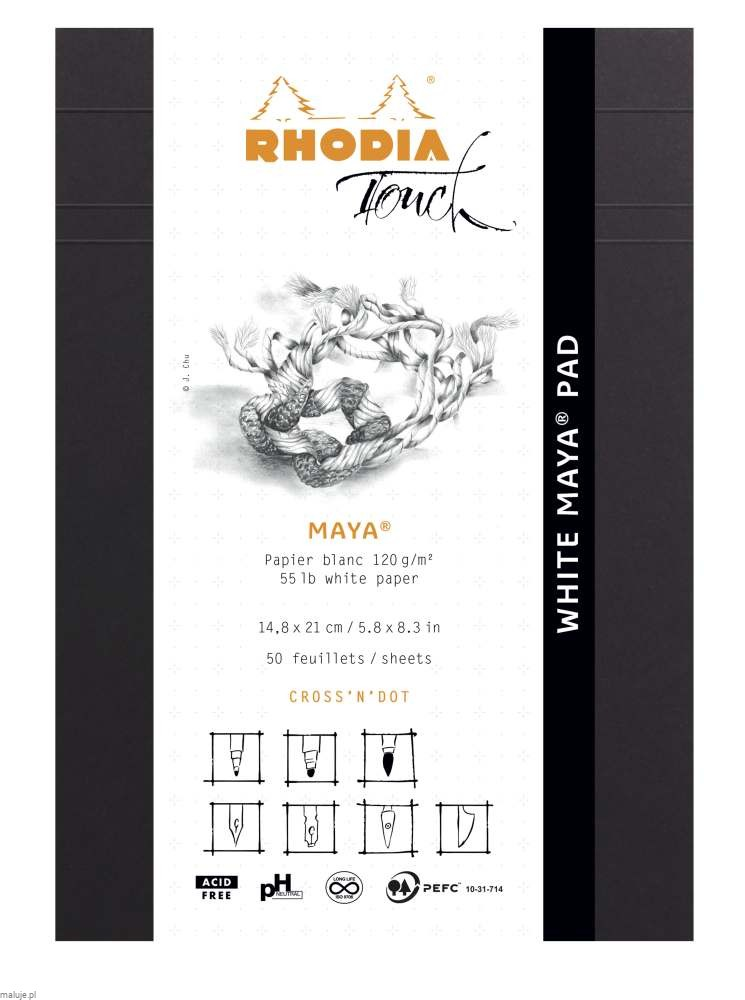 "Rhodia Touch WHITE MAYA Pad ""Cross'n'Dot"" 120g 50ark. - blok do kaligrafii"