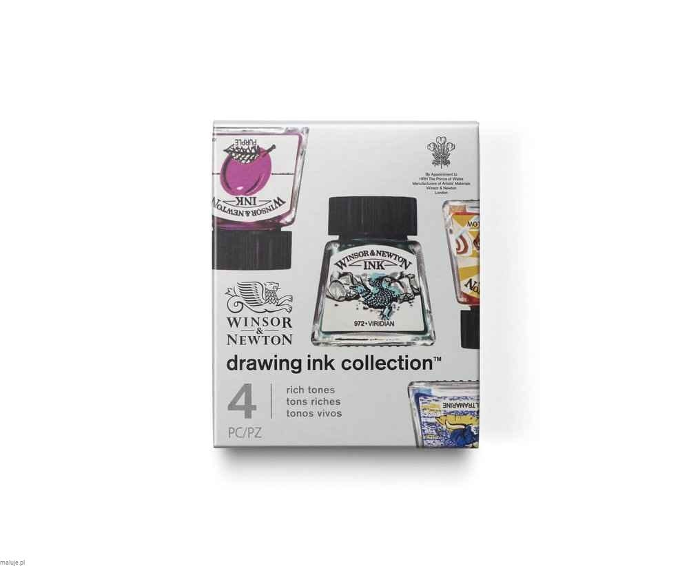 Winsor&Newton Drawing Ink Collection Rich Tones 4szt - komplet tuszy