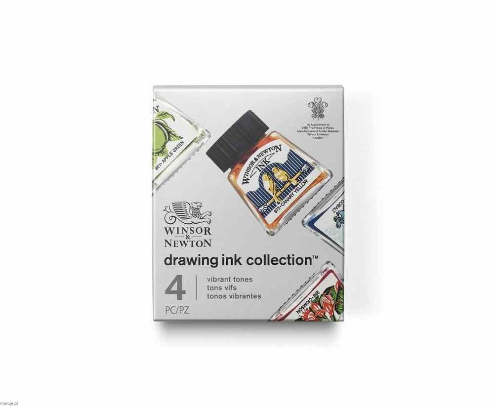 Winsor&Newton Drawing Ink Collection Vibrant Tones 4szt - komplet tuszy