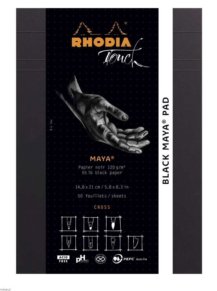 "Rhodia Touch BLACK MAYA Pad ""Cross"" 120g 50ark. - blok do kaligrafii"