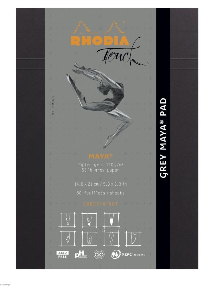 "Rhodia Touch GREY MAYA Pad ""Cross'n'Dot"" 120g 50ark. - blok do kaligrafii"