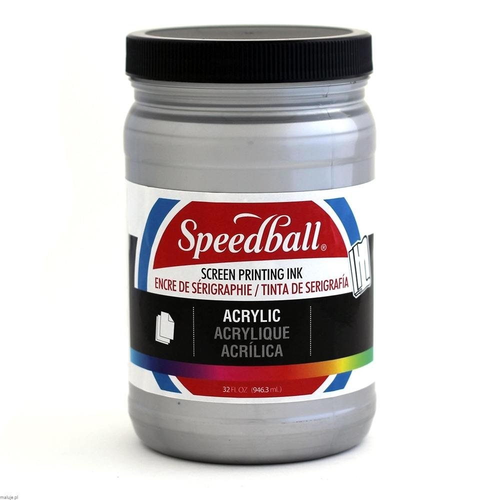 Speedball Acrylic Screen Printing Ink SILVER - akrylowa farba do sitodruku
