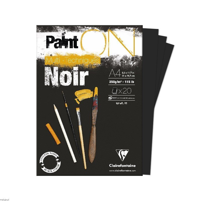 Blok PAINT ON Black 250g 20ark - blok z czarnym papierem