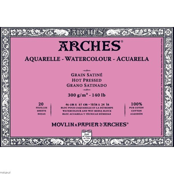 Arches Aquarelle HP Natural White 300g 20 ark. Blok Akwarelowy