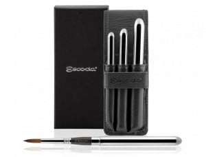 Escoda Prado Travel 3 brush set Leather Case - komplet pędzli