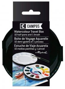 Campus Watercolour Travel Box 10 półkostek + pędzel - komplet farb akwarelowych