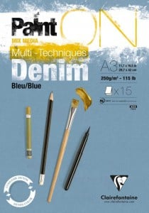 Blok PAINT ON  Denim Blue 250g 15ark - blok do technik mieszanych