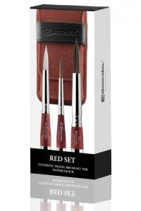 Escoda Red Synthetic Travel Brush Set