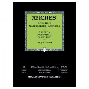Arches Aquarelle CP Natural White 185g 15 ark. Blok Akwarelowy