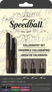 Speedball Zestaw do kaligrafii Fountaine Pen Set - 3 sztalówki + naboje