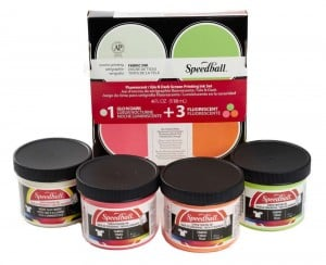 Speedball Fabric Screen Printing Set 4x118ml Flou + Glow in the Dark - komplet farb do sitodruku na tkaninach
