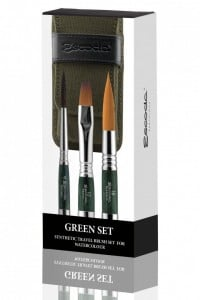 Escoda Green Synthetic Travel Brush Set